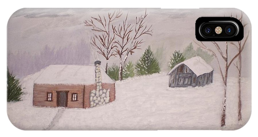 Landscape IPhone X Case featuring the painting Snow by James Ivey