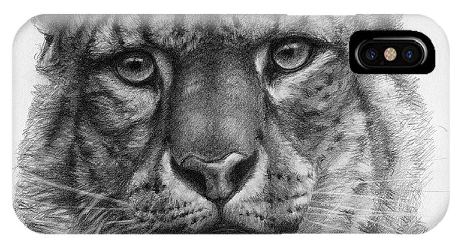 Snow Leopard IPhone X Case featuring the drawing Snow Leopard - Panthera Uncia Portrait by Svetlana Ledneva-Schukina