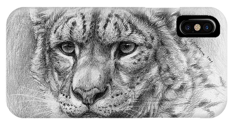 Animal IPhone X Case featuring the drawing Snow Leopard - Panthera Uncia by Svetlana Ledneva-Schukina