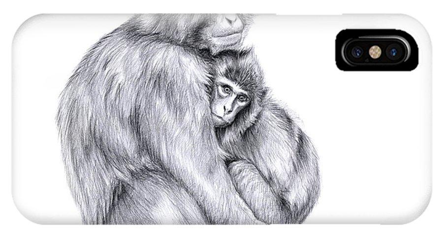 Monkey IPhone X Case featuring the drawing Snow Monkey And Baby by Svetlana Ledneva-Schukina