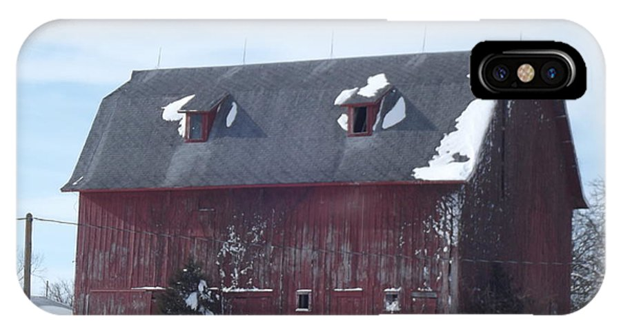 Elkader Iowa IPhone X Case featuring the photograph Snow On Roof by Bonfire Photography