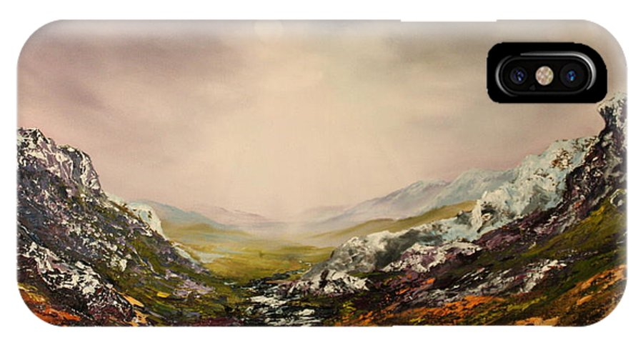 Scotland IPhone X Case featuring the painting Snow On The Cairngorms by Jean Walker