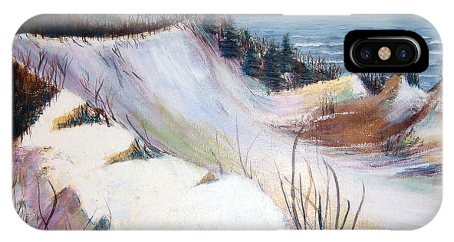 Snow IPhone X Case featuring the painting Snow On The Dunes by Art Nomad Sandra Hansen