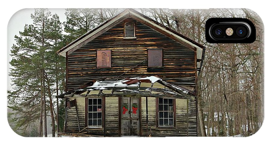 General Store IPhone X Case featuring the photograph Snow On The General Store by Benanne Stiens