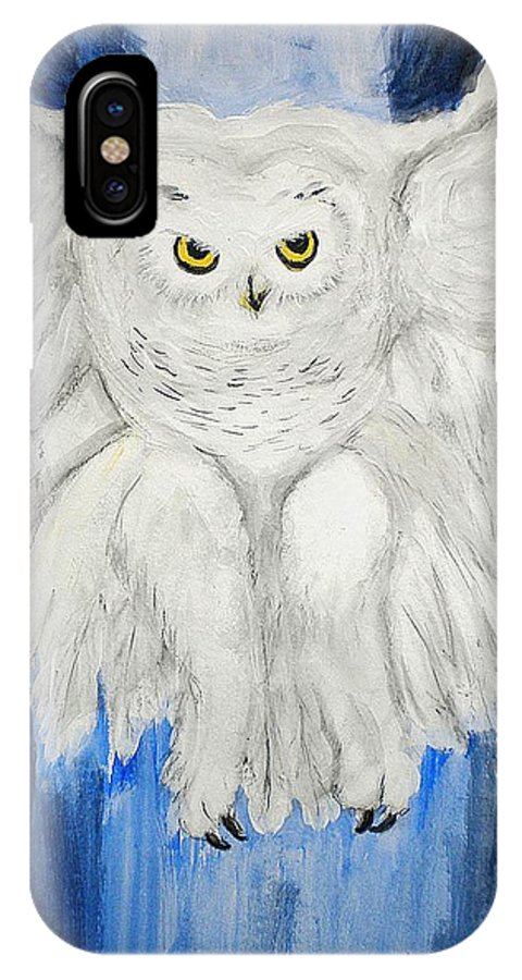 Owl IPhone X Case featuring the painting Snow Owl In Flight by Linda Waidelich