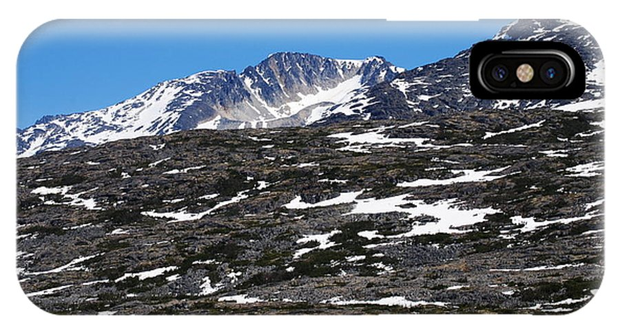 Snow Patcheded Mountain IPhone X Case featuring the photograph Snow Patched Mountain by Lyndall Hamlett