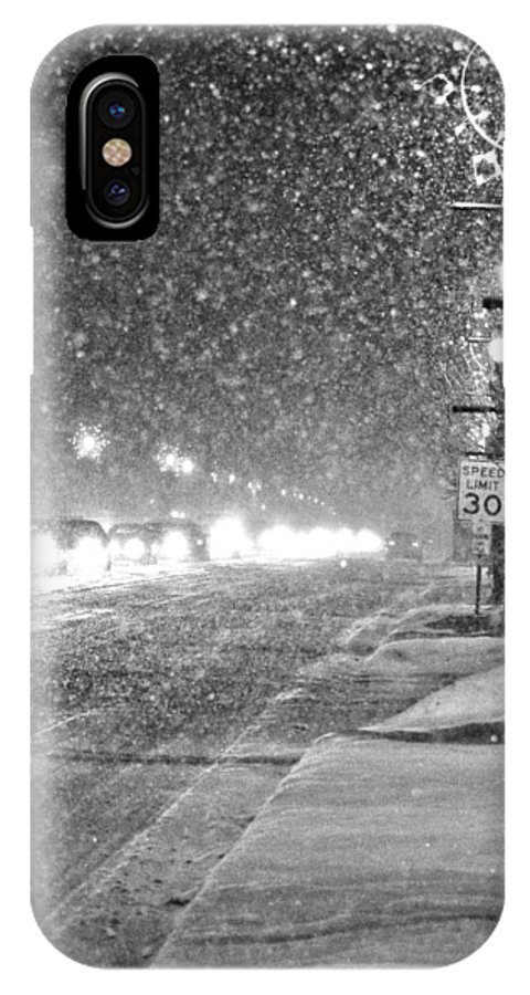 Snow IPhone X Case featuring the photograph Snow Rush In Black And White by Christina Fixemer