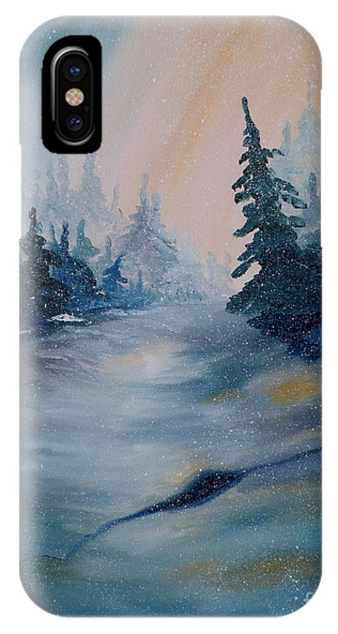 Snowscape IPhone X Case featuring the painting Snowstorm by Lora Duguay