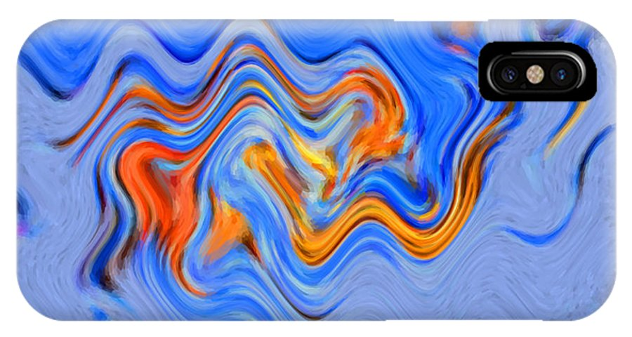 60's IPhone X Case featuring the digital art Snow Wave by Christine Dekkers