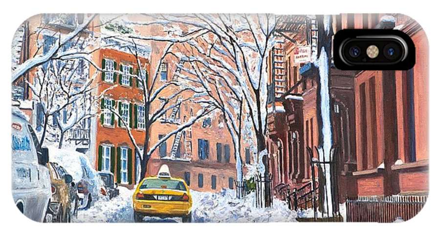 Snow IPhone X Case featuring the painting Snow West Village New York City by Anthony Butera