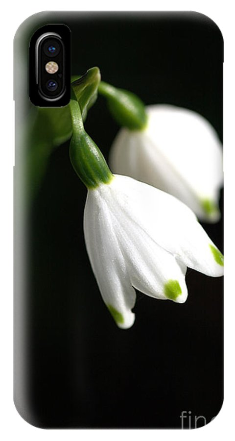 Flora IPhone X Case featuring the photograph Snowdrop Duo by Joy Watson