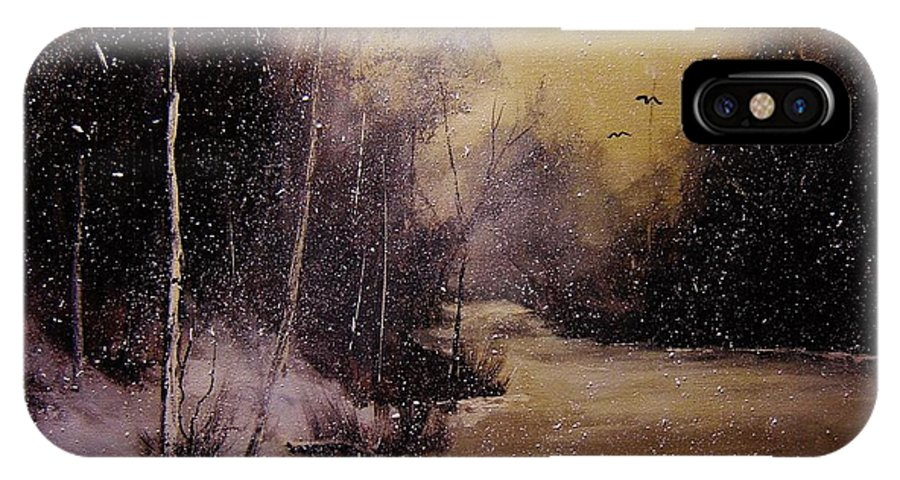 Landscape IPhone X Case featuring the painting Snowfall At Dusk by Eugene Budden