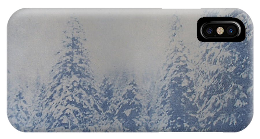 Yosemite IPhone X Case featuring the painting Snowfall in Blue by Philip Fleischer