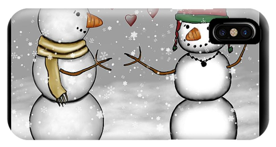 Snowman IPhone X Case featuring the painting Snowman Christmas 4 by Karen Sheltrown