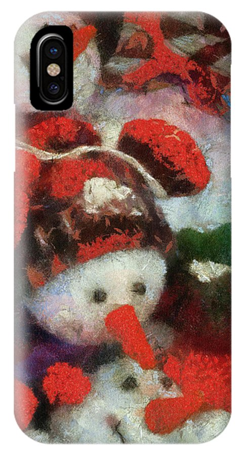 Winter IPhone X Case featuring the photograph Snowman Photo Art 45 by Thomas Woolworth