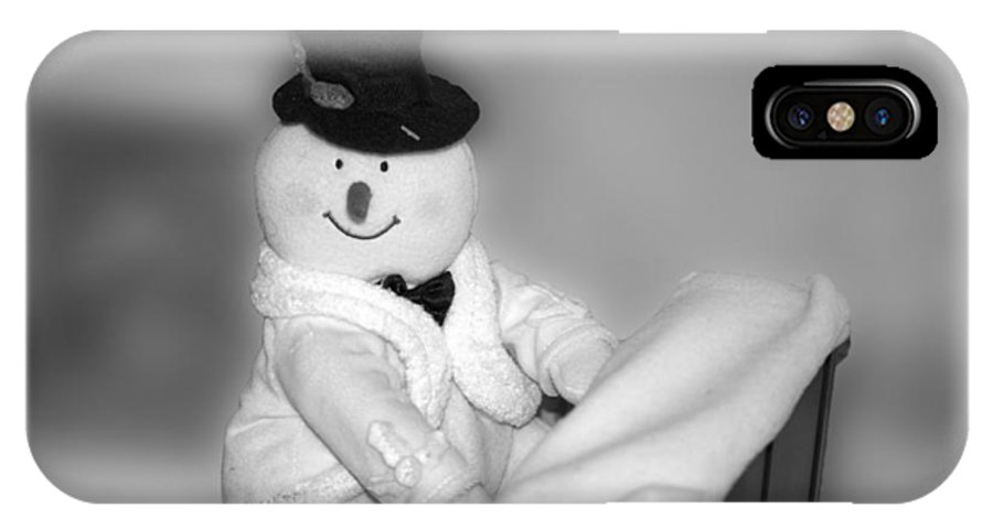 Music IPhone X Case featuring the photograph Snowman Playing The Piano In Bw by Thomas Woolworth