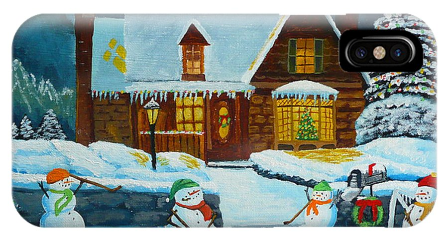 Christmas IPhone X Case featuring the painting Snowmans Hockey by Anthony Dunphy