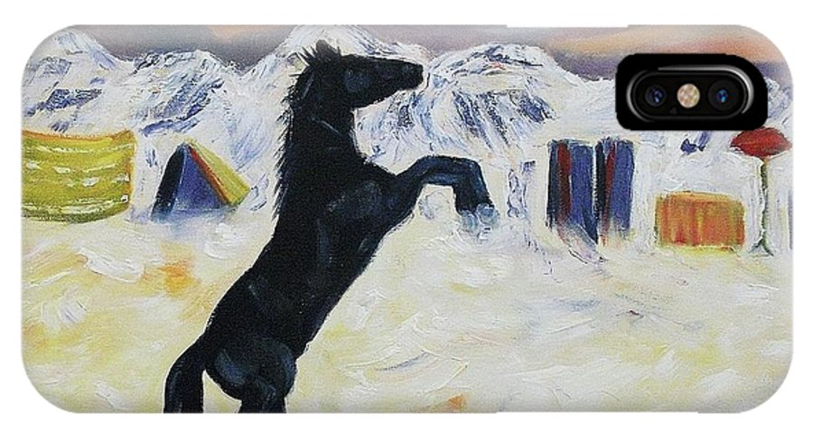 Snow IPhone X Case featuring the painting Snowtime In Vegas by Suzanne Marie Leclair