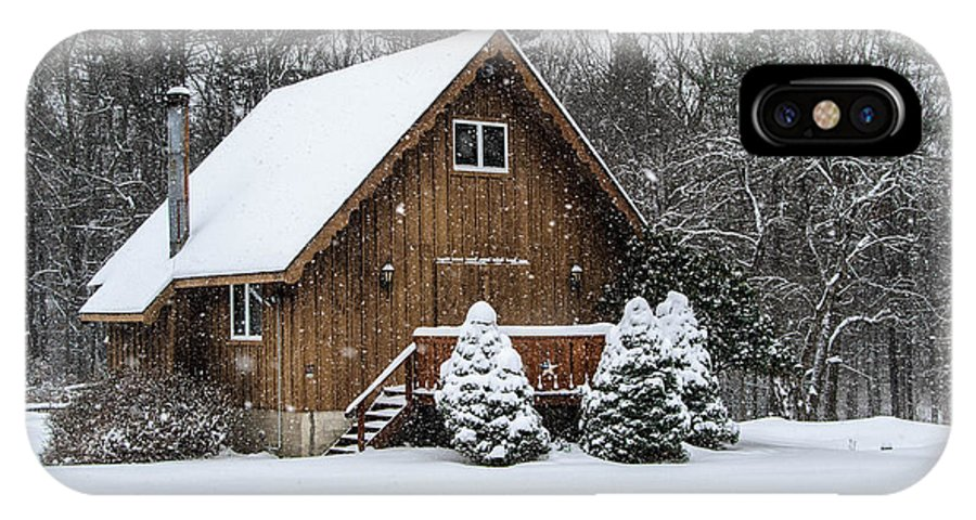 Snow IPhone X Case featuring the photograph Snowy Country Cottage by Anthony Thomas