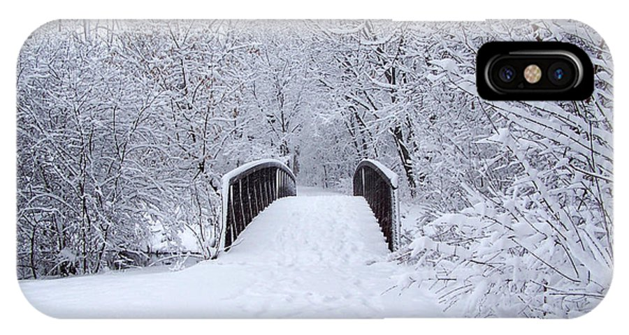 Snow IPhone X Case featuring the photograph Snowy Day Bridge by Forest Floor Photography