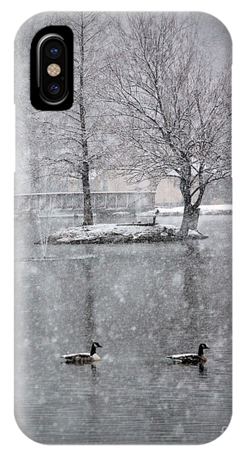 Duck IPhone X Case featuring the photograph Snowy Day On The Island by Tina Miller