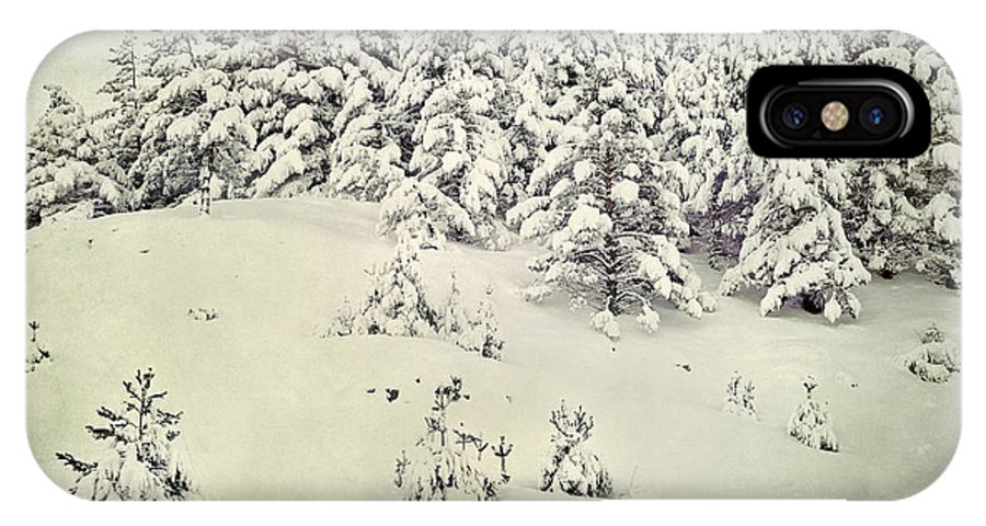 Landscapes IPhone X Case featuring the photograph Snowy Forest Vintage by Guido Montanes Castillo