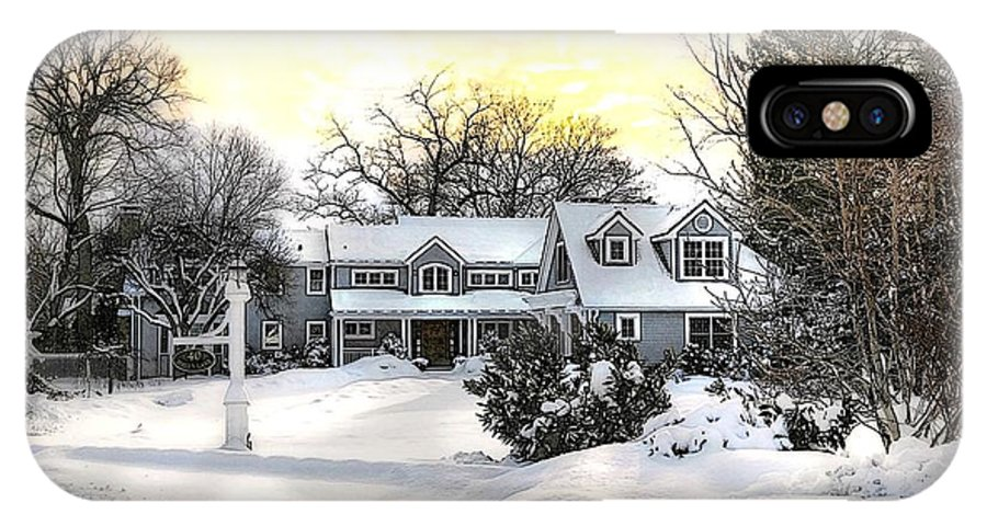 Architecture IPhone X Case featuring the photograph Snowy Home by Diana Angstadt