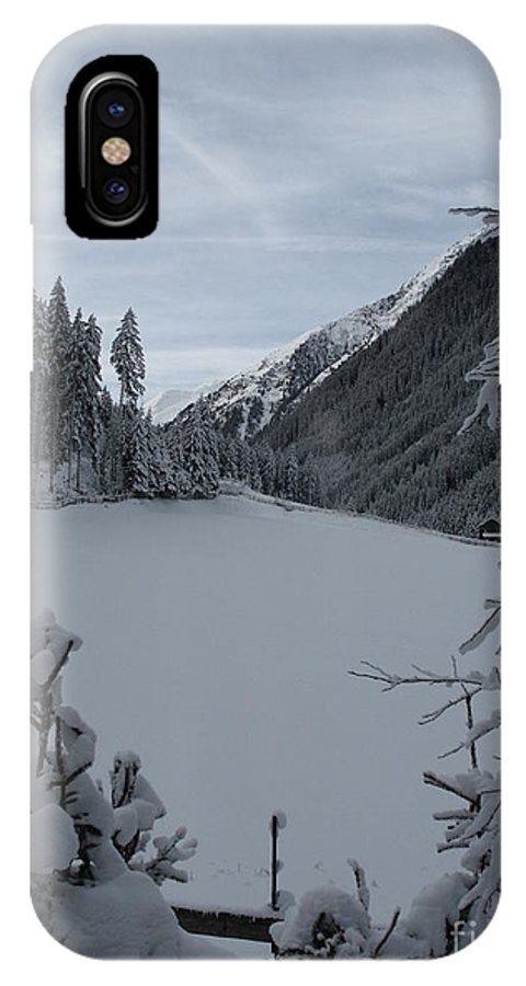 Snow IPhone X Case featuring the photograph Snowy Meadow by Christiane Schulze Art And Photography