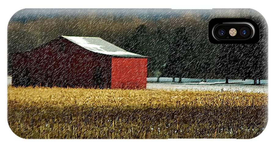 Barn IPhone X Case featuring the photograph Snowy Red Barn In Winter by Lois Bryan