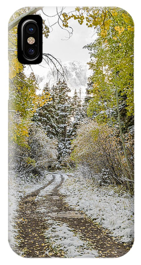 Aspen Trees IPhone X Case featuring the photograph Snowy Road In Fall by Jeff Stoddart