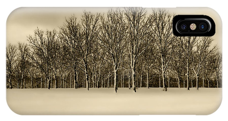 Snow IPhone X / XS Case featuring the photograph Snowy Tree Line - Sepia Tint by Clay Swatzell