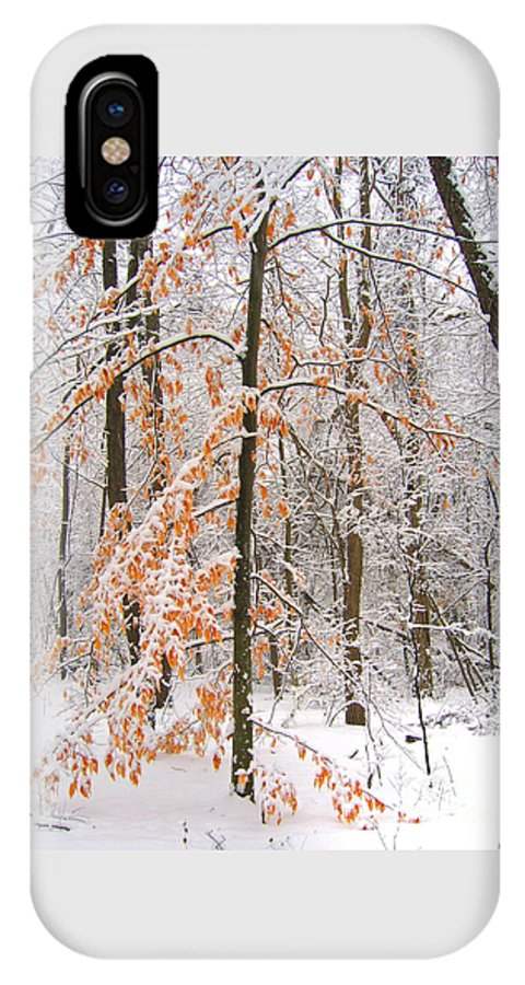 Winter IPhone X Case featuring the photograph Snowy Woods by Ann Horn