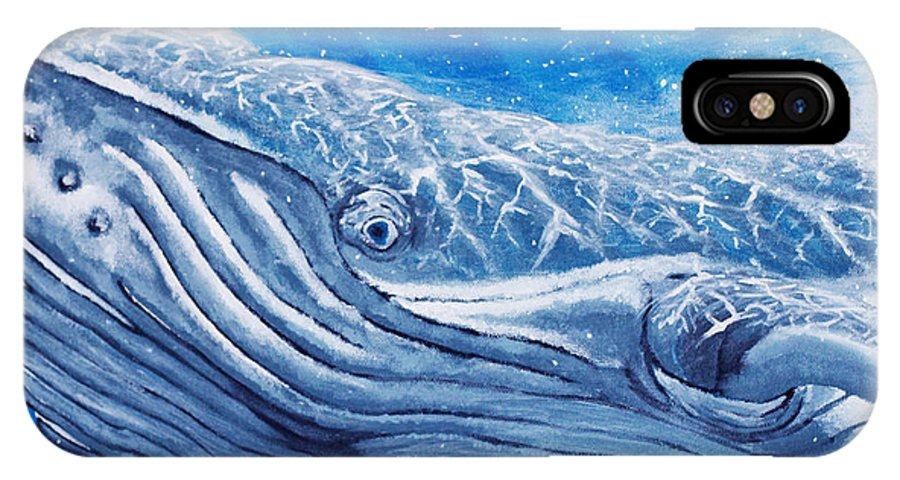 Whales IPhone X Case featuring the painting So Real They're Magic by Robert Timmons