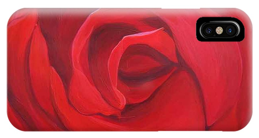 Rose In The Italian Countryside IPhone X Case featuring the painting So Red The Rose by Hunter Jay
