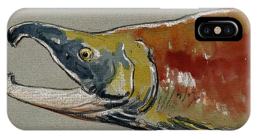 Sockeye IPhone X Case featuring the painting Sockeye Salmon Head Study by Juan Bosco