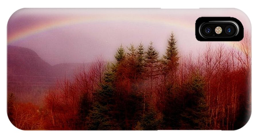 Rainbows IPhone X Case featuring the painting Soft Cape Breton Rainbow by John Malone