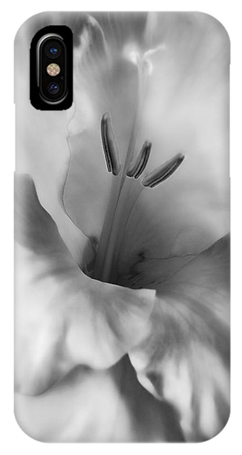 Gladiola IPhone X Case featuring the photograph Soft Silver Gladiola Flower by Jennie Marie Schell
