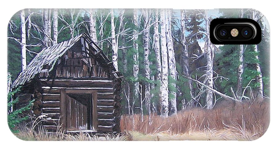 Old Cabin IPhone X Case featuring the painting Solitude by Bonnie Heather