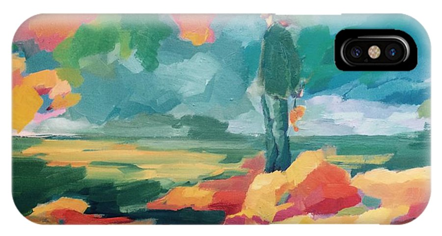 Sky IPhone X Case featuring the painting Solitude by Nelya Pinchuk