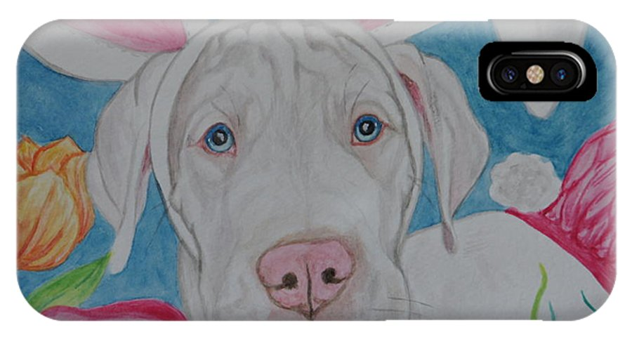 Dog IPhone X Case featuring the painting Some Bunny Says Spring Has Sprung by Megan Cohen