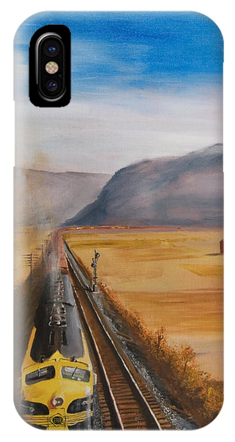 Train IPhone X Case featuring the painting Somewhere West Of Corning by Christopher Jenkins