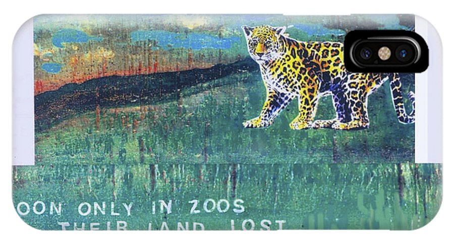 Ecology IPhone X Case featuring the mixed media Soon Only In Zoos Their Land Lost by Mary Ann Leitch