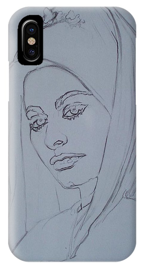 Woman IPhone X / XS Case featuring the drawing Sophia Loren In Headdress by Sean Connolly