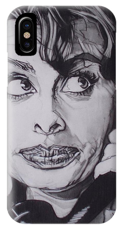 Charcoal;icon;actress;diva;italian;cat Eyes;beautiful;cute;adorable IPhone X Case featuring the drawing Sophia Loren Telephones by Sean Connolly