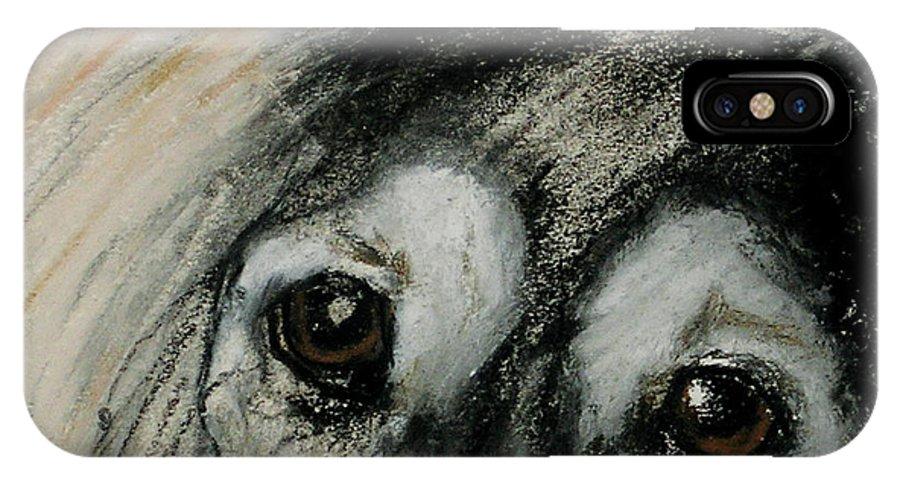 Saluki IPhone X Case featuring the drawing Sophia's Eyes by Cori Solomon