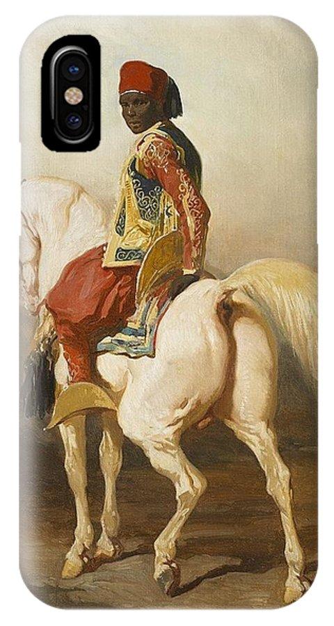 Soudanais Sur Son Etalon Blanc IPhone X / XS Case featuring the painting Soudanais Sur Son Etalon Blanc by Celestial Images