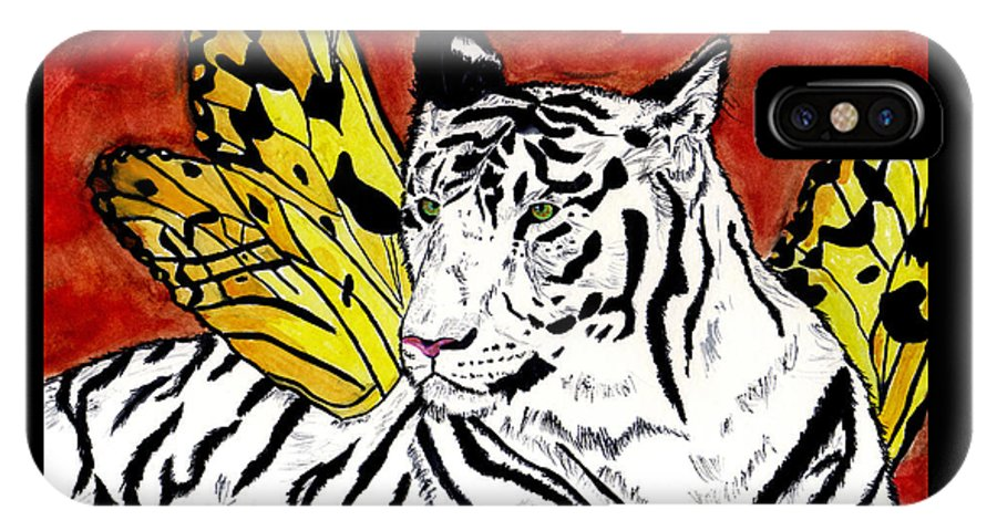 Tiger IPhone X / XS Case featuring the painting Soul Rhapsody by Crystal Hubbard