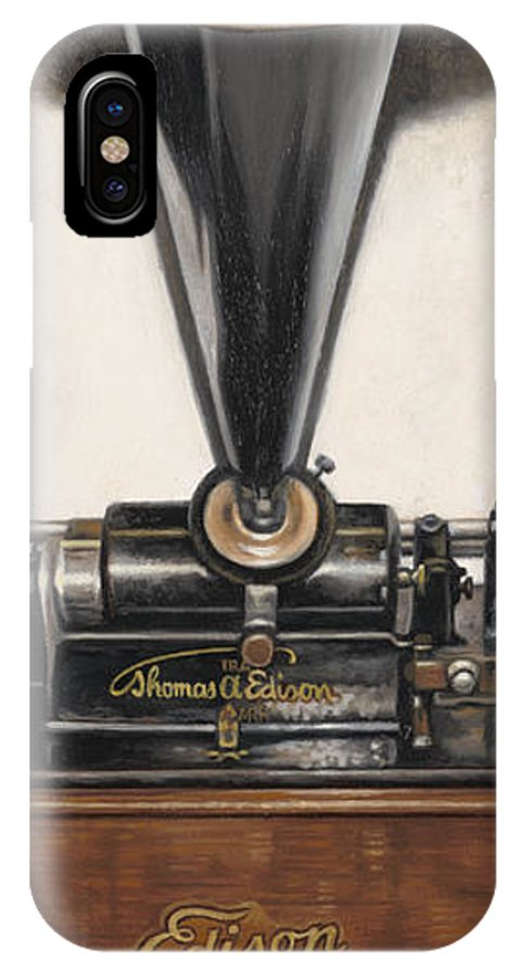 Victrola IPhone X Case featuring the painting Sound Of Memories by Ron Crabb