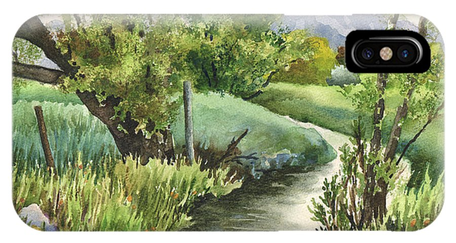 Landscape Painting IPhone X Case featuring the painting South Boulder Creek by Anne Gifford