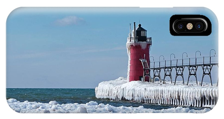 Lighthouse IPhone X Case featuring the photograph South Haven Ice by Ann Horn